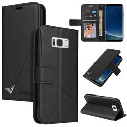 GQ.UTROBE Right Angle Silver Pendant Leather Wallet Phone Case for Samsung Galaxy S8 Plus S8+ - Black