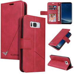 GQ.UTROBE Right Angle Silver Pendant Leather Wallet Phone Case for Samsung Galaxy S8 Plus S8+ - Red