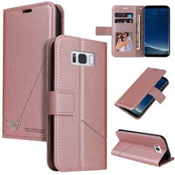 GQ.UTROBE Right Angle Silver Pendant Leather Wallet Phone Case for Samsung Galaxy S8 Plus S8+ - Rose Gold
