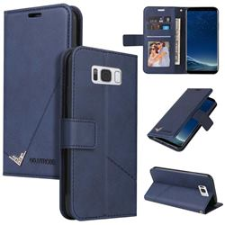 GQ.UTROBE Right Angle Silver Pendant Leather Wallet Phone Case for Samsung Galaxy S8 Plus S8+ - Blue