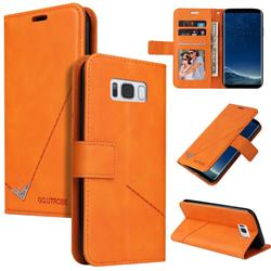 GQ.UTROBE Right Angle Silver Pendant Leather Wallet Phone Case for Samsung Galaxy S8 Plus S8+ - Orange