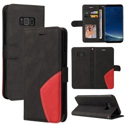 Luxury Two-color Stitching Leather Wallet Case Cover for Samsung Galaxy S8 Plus S8+ - Black