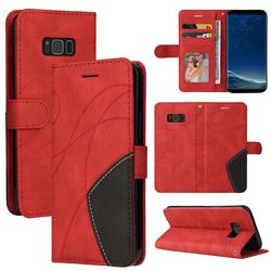 Luxury Two-color Stitching Leather Wallet Case Cover for Samsung Galaxy S8 Plus S8+ - Red