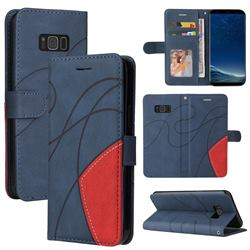 Luxury Two-color Stitching Leather Wallet Case Cover for Samsung Galaxy S8 Plus S8+ - Blue