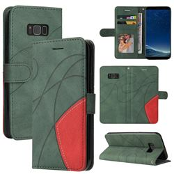 Luxury Two-color Stitching Leather Wallet Case Cover for Samsung Galaxy S8 Plus S8+ - Green