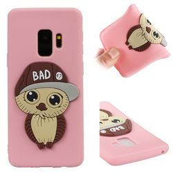 Bad Boy Owl Soft 3D Silicone Case for Samsung Galaxy S9 - Pink