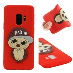 Bad Boy Owl Soft 3D Silicone Case for Samsung Galaxy S9 - Red