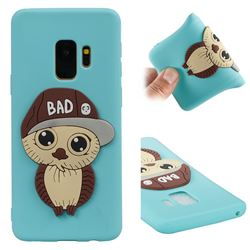 Bad Boy Owl Soft 3D Silicone Case for Samsung Galaxy S9 - Sky Blue
