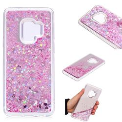 Glitter Sand Mirror Quicksand Dynamic Liquid Star TPU Case for Samsung Galaxy S9 - Cherry Pink