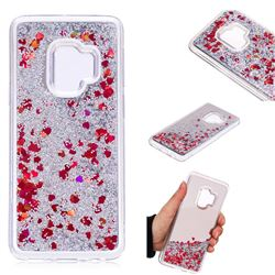 Glitter Sand Mirror Quicksand Dynamic Liquid Star TPU Case for Samsung Galaxy S9 - Red