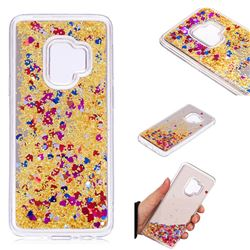 Glitter Sand Mirror Quicksand Dynamic Liquid Star TPU Case for Samsung Galaxy S9 - Yellow