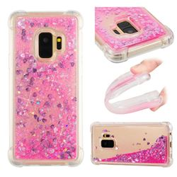 Dynamic Liquid Glitter Sand Quicksand TPU Case for Samsung Galaxy S9 - Pink Love Heart