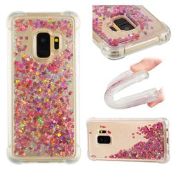 Dynamic Liquid Glitter Sand Quicksand TPU Case for Samsung Galaxy S9 - Rose Gold Love Heart
