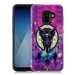 Starry Campanula Owl Pattern 2 in 1 PC + TPU Glossy Embossed Back Cover for Samsung Galaxy S9