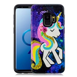Rainbow Horse Pattern 2 in 1 PC + TPU Glossy Embossed Back Cover for Samsung Galaxy S9