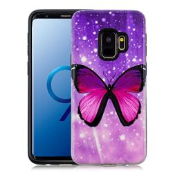 Glossy Butterfly Pattern 2 in 1 PC + TPU Glossy Embossed Back Cover for Samsung Galaxy S9