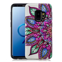 Mandara Flower Pattern 2 in 1 PC + TPU Glossy Embossed Back Cover for Samsung Galaxy S9