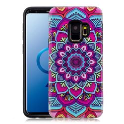 Datura Flowers Pattern 2 in 1 PC + TPU Glossy Embossed Back Cover for Samsung Galaxy S9