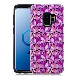 Lotus Flower Pattern 2 in 1 PC + TPU Glossy Embossed Back Cover for Samsung Galaxy S9