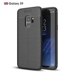 Luxury Auto Focus Litchi Texture Silicone TPU Back Cover for Samsung Galaxy S9 - Black
