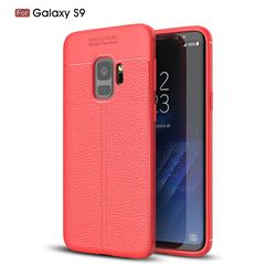 Luxury Auto Focus Litchi Texture Silicone TPU Back Cover for Samsung Galaxy S9 - Red