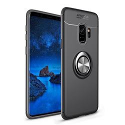 Auto Focus Invisible Ring Holder Soft Phone Case for Samsung Galaxy S9 - Black