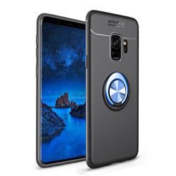 Auto Focus Invisible Ring Holder Soft Phone Case for Samsung Galaxy S9 - Black Blue