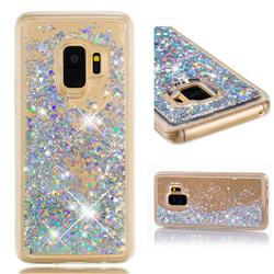 Dynamic Liquid Glitter Quicksand Sequins TPU Phone Case for Samsung Galaxy S9 - Silver