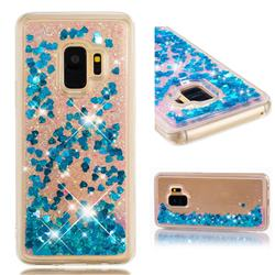 Dynamic Liquid Glitter Quicksand Sequins TPU Phone Case for Samsung Galaxy S9 - Blue