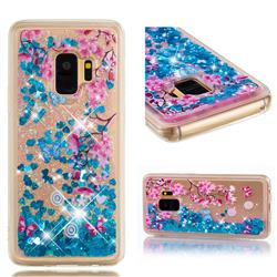 Blue Plum Blossom Dynamic Liquid Glitter Quicksand Soft TPU Case for Samsung Galaxy S9