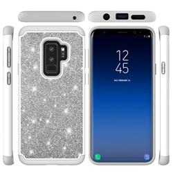 Glitter Rhinestone Bling Shock Absorbing Hybrid Defender Rugged Phone Case Cover for Samsung Galaxy S9 - Gray