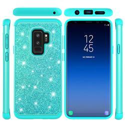 Glitter Rhinestone Bling Shock Absorbing Hybrid Defender Rugged Phone Case Cover for Samsung Galaxy S9 - Green