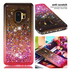 Diamond Frame Liquid Glitter Quicksand Sequins Phone Case for Samsung Galaxy S9 - Gray Pink
