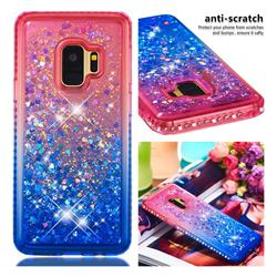 Diamond Frame Liquid Glitter Quicksand Sequins Phone Case for Samsung Galaxy S9 - Pink Blue