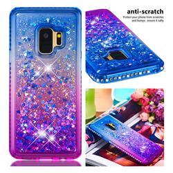 Diamond Frame Liquid Glitter Quicksand Sequins Phone Case for Samsung Galaxy S9 - Blue Purple
