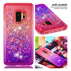 Diamond Frame Liquid Glitter Quicksand Sequins Phone Case for Samsung Galaxy S9 - Pink Purple