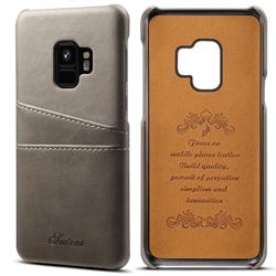 Suteni Retro Classic Card Slots Calf Leather Coated Back Cover for Samsung Galaxy S9 - Gray