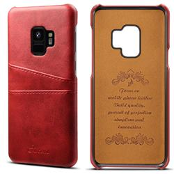 Suteni Retro Classic Card Slots Calf Leather Coated Back Cover for Samsung Galaxy S9 - Red