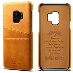 Suteni Retro Classic Card Slots Calf Leather Coated Back Cover for Samsung Galaxy S9 - Khaki