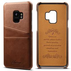 Suteni Retro Classic Card Slots Calf Leather Coated Back Cover for Samsung Galaxy S9 - Brown