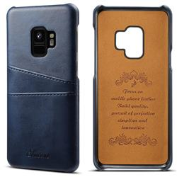Suteni Retro Classic Card Slots Calf Leather Coated Back Cover for Samsung Galaxy S9 - Blue
