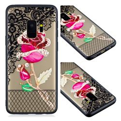Rose Lace Diamond Flower Soft TPU Back Cover for Samsung Galaxy S9
