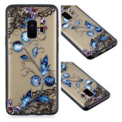 Butterfly Lace Diamond Flower Soft TPU Back Cover for Samsung Galaxy S9