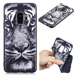 White Tiger 3D Embossed Relief Black TPU Cell Phone Back Cover for Samsung Galaxy S9