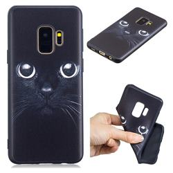 Bearded Feline 3D Embossed Relief Black TPU Cell Phone Back Cover for Samsung Galaxy S9