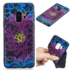 Colorful Lace 3D Embossed Relief Black TPU Cell Phone Back Cover for Samsung Galaxy S9