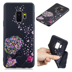 Corolla Girl 3D Embossed Relief Black TPU Cell Phone Back Cover for Samsung Galaxy S9