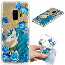 Blue Flower Unicorn Clear Varnish Soft Phone Back Cover for Samsung Galaxy S9