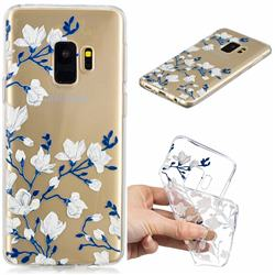 Magnolia Flower Clear Varnish Soft Phone Back Cover for Samsung Galaxy S9