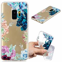 Gem Flower Clear Varnish Soft Phone Back Cover for Samsung Galaxy S9